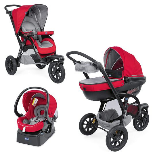 Kinderwagenset Trio-System Activ3 Top mit Kit Car - Red Berry