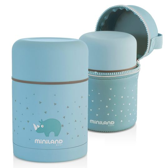 Stainless steel insulation box incl. neoprene bag Silky Food Thermos 600 ml - Turquoise