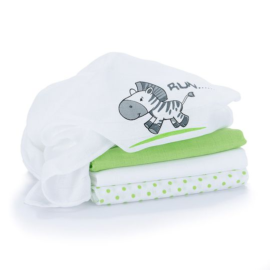 Diaper 4er Pack - Zebra White Green