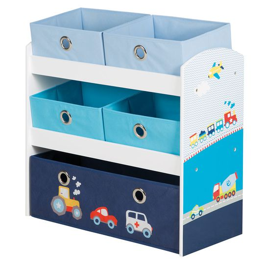 Game shelf with boxes - Racing car - Blue