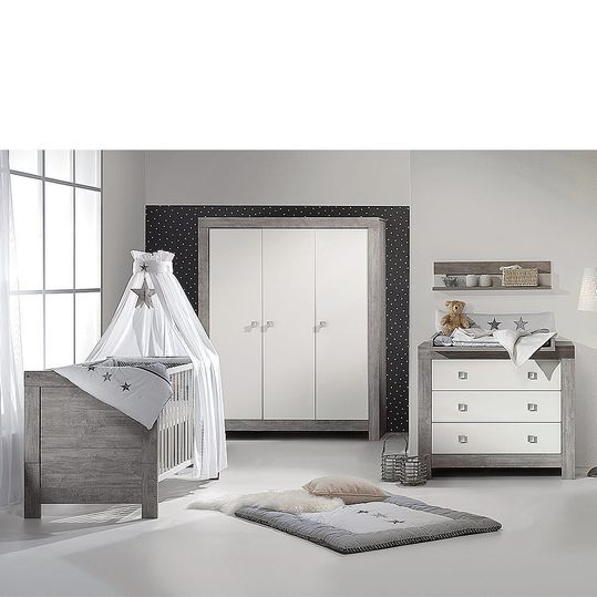 Children's room Nordic Driftwood 15-pcs. with 3-door wardrobe incl. textile collection Star Grey