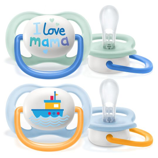 Schnuller 2er Pack Ultra Air Collection Happy 0-6 M - SCF080/01 - Mama Boat