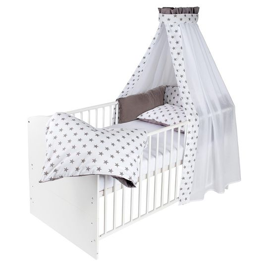 Complete bed Classic-Line White 70 x 140 cm - Big Stars Grey