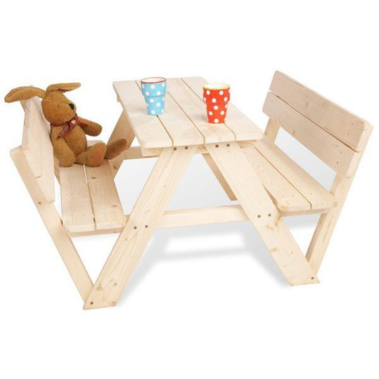 Nicki children's settee for 4 children with backrest - solid spruce nature