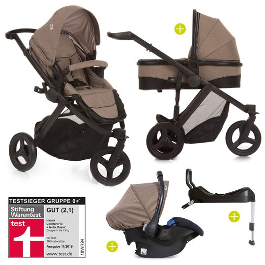4in1 Kinderwagen-Set Maxan 3 Plus inkl. Babyschale Comfort Fix und Isofix Basis - Melange Sand