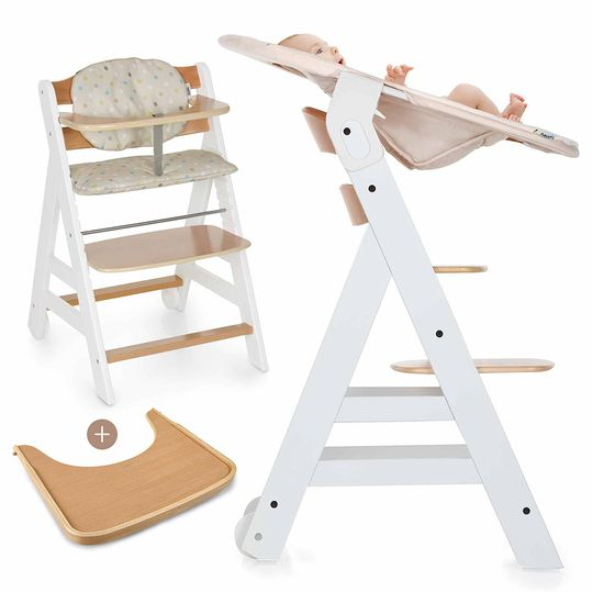 Beta Plus Newborn Set - High chair + newborn top & bouncer - White Nature