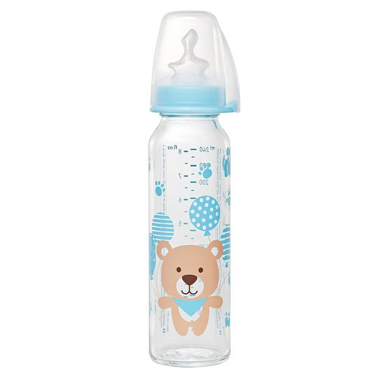 glass bottle 250 ml - silicone size 1 M - bear blue