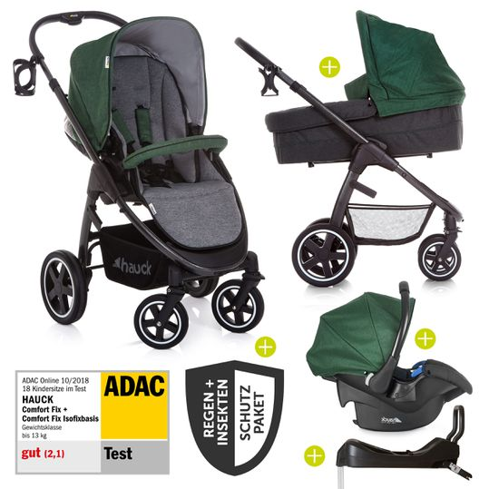 4in1 Kinderwagen-Set Soul Plus Trio Set inkl. Isofix Basis und XXL Zubehörpaket - Emerald