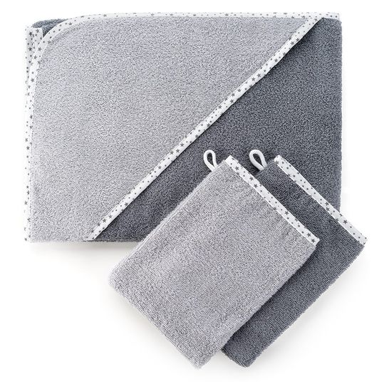 Set of 3 - hood bath towel incl. 2 washing gloves 80 x 80 cm - stars grey