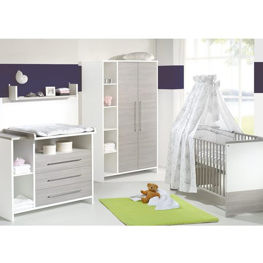 Children's room Eco Silber with 2-door wardrobe with shelf, bed, changing unit