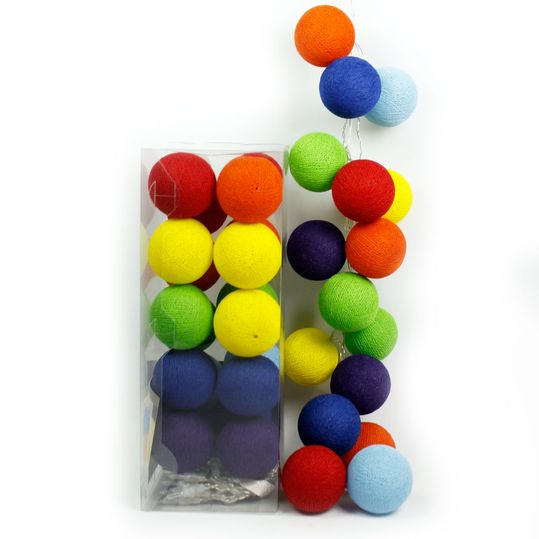 20er Cotton-Ball-Lichterkette - Rainbow