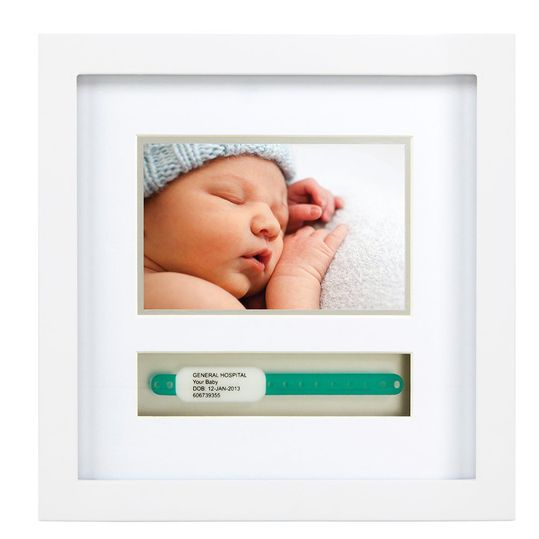Picture frame with compartment for birth band - white