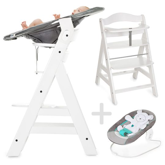Alpha Plus White - Newborn Set - High chair + newborn insert & seesaw