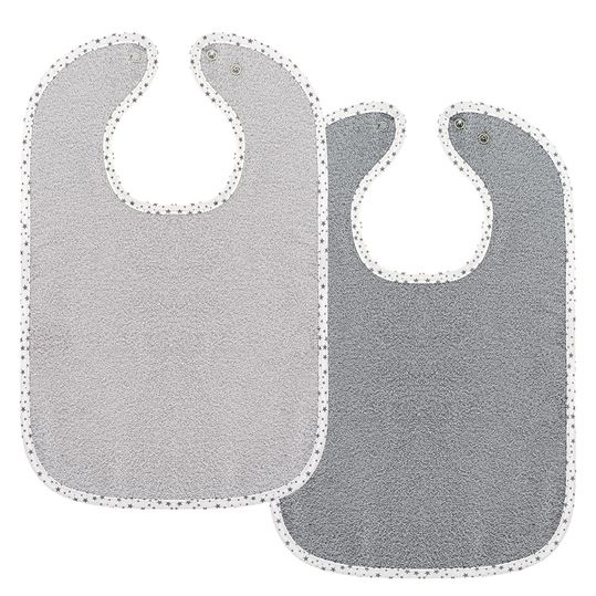 Set of 2 giant bibs with press studs - grey light grey