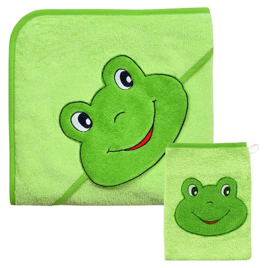 Gift box hood bath towel & wash glove - Frog lime