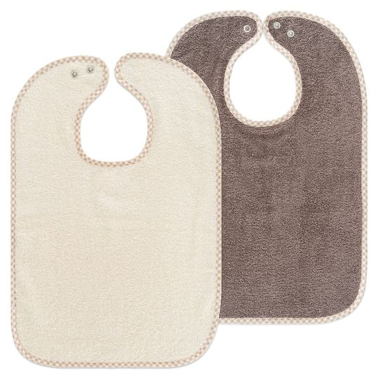 Set of 2 giant bibs with press studs - Natural Light Brown