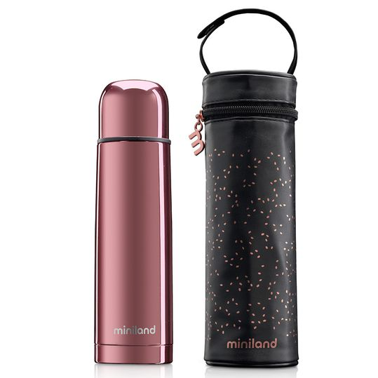 Edelstahl-Isolierflasche inkl. Isoliertasche Deluxe Thermos 500 ml - Rose