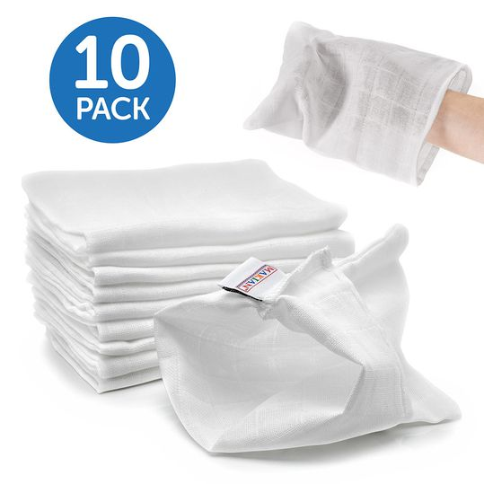 Gauze Washing Glove Pack of 10 - White
