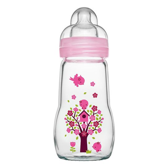 Glass bottle Feel Good 260 ml - silicone size 1 - pink
