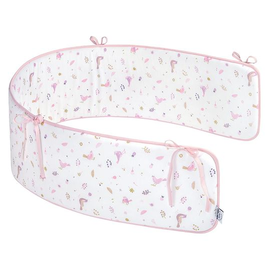 Nest Jersey Comfort 200 x 30 cm - Berries and Birds - White Pink