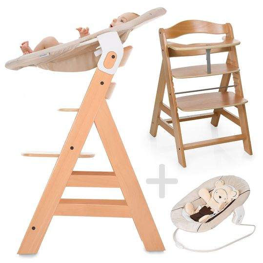 Alpha Plus Natur - Newborn Set - High chair + newborn insert & seesaw
