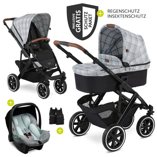 3in1 Kinderwagen-Set Salsa 4 Air - inkl. Babyschale Tulip & XXL Zubehörpaket - Fashion Edition - Smaragd