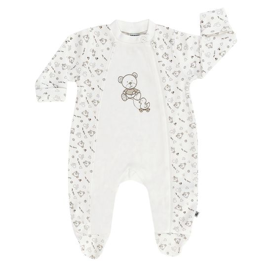 Pajamas one-piece suit incl. scratch mittens Bear - Allover Offwhite - Gr. 56