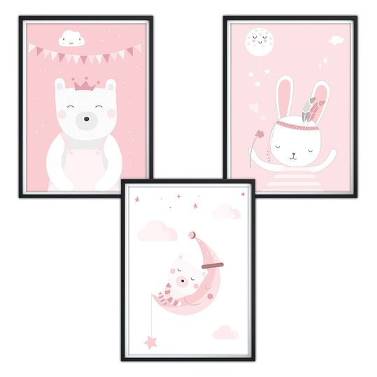 Poster 3er Set - Tiere - A4 - Rosa