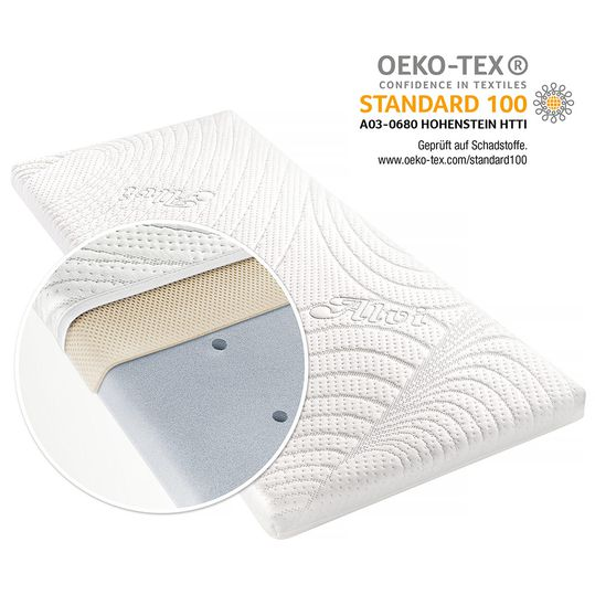 Additional bed & cradle mattress with moisture protection and vertical air ducts - Tencel & Dry - 90 x 40 cm