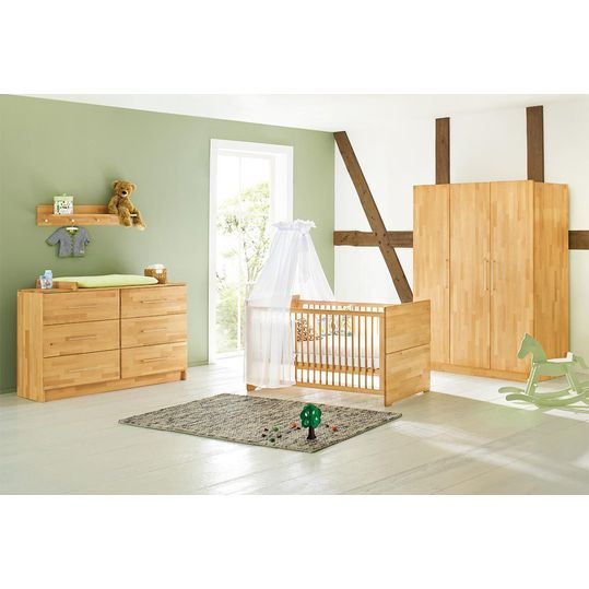 Children's room Natura with extra wide changing table and 3-door wardrobe - solid beech