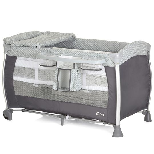 Starlight travel bed set (incl. 2nd level, changing mat, care box) - Diamond Grey