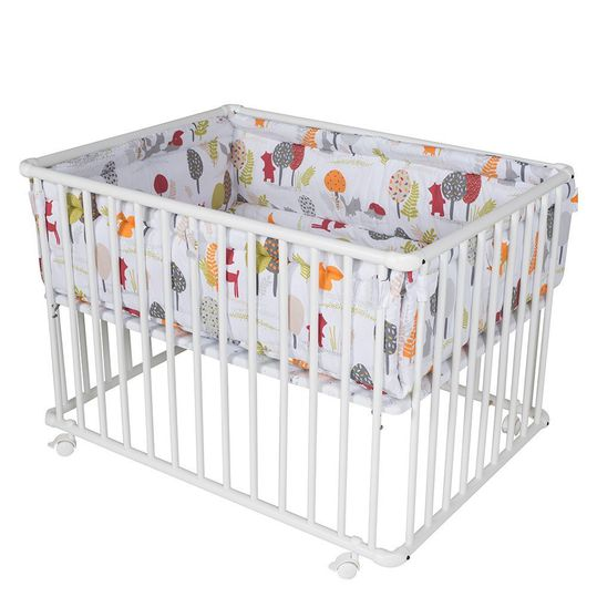 Playpen Basic White incl. insert 100 x 100 cm - Forest Animals Colourful