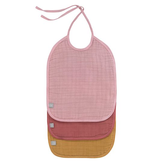 Binde-Lätzchen 3er Pack Muslin Bib Medium - Rose