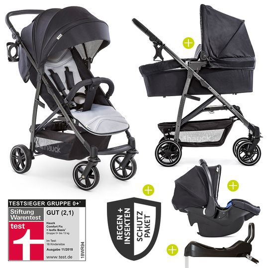 4in1 pram set Rapid 4S Plus (up to 25 kg) incl. Isofix base, rain cover and insect screen - Caviar Silver