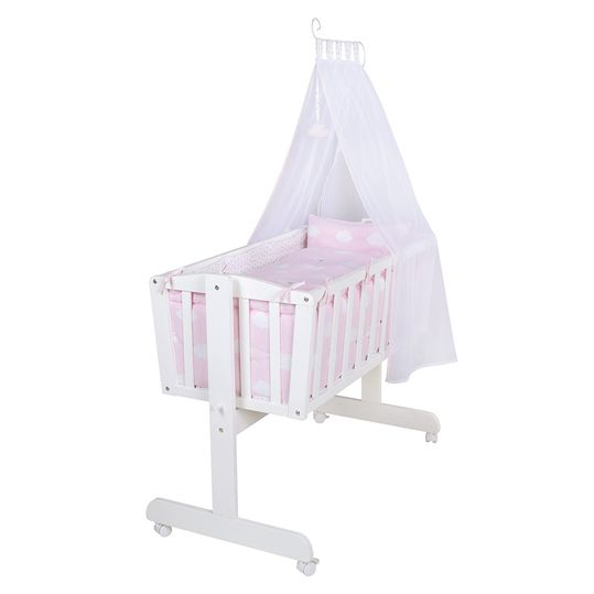 Complete Cradle White - Small Cloud - Pink