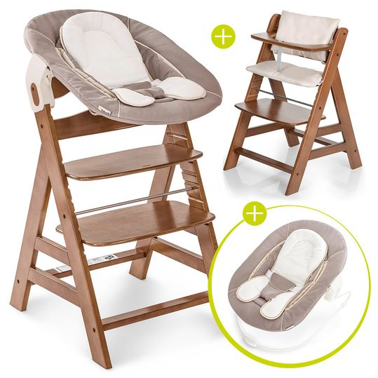 Alpha Plus Walnut Newborn Set - 4-piece high chair + newborn insert & rocker stretch beige + seat cushion