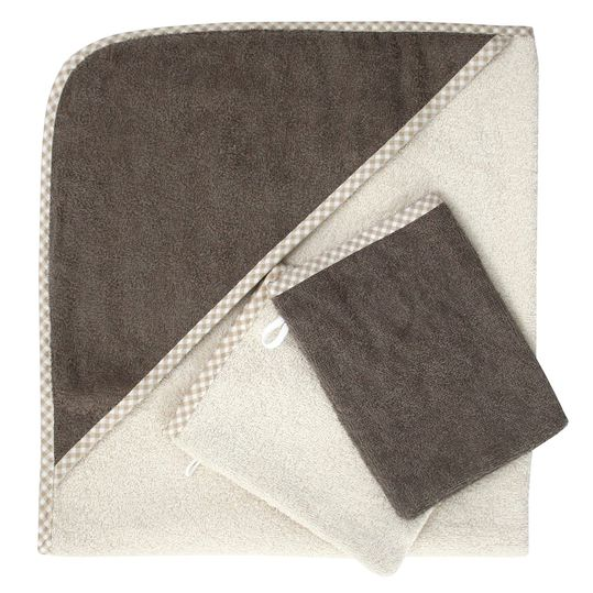 Set of 3 - hood bath towel incl. 2 washing gloves 80 x 80 cm - natural light brown