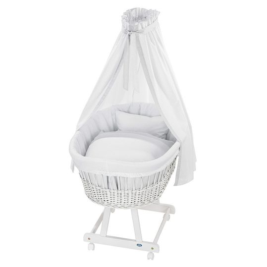 Complete bassinet Birthe White - Little Dots - Grey
