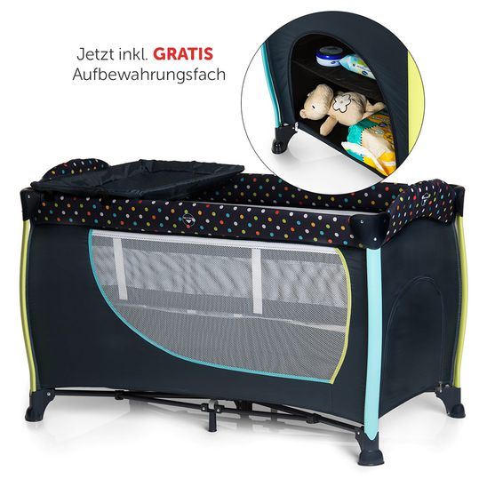 Travel cot set Sleep'n Play Center II - 60 x 120 - Multi Dots Navy - Now incl. FREE storage compartment