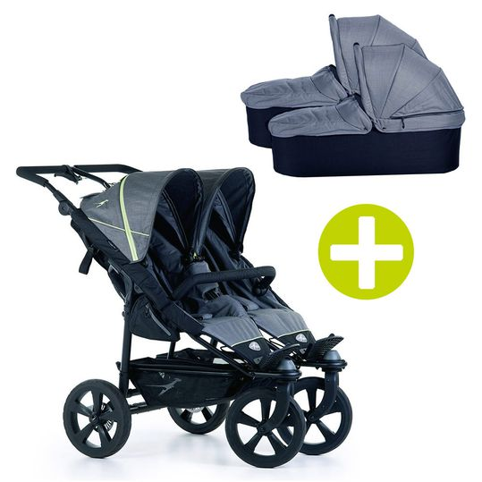 3-1 Geschwister- & Zwillingskinderwagen-Set Twin Trail 2 inkl. 2 Babywannen Twin mit Adapter - Quiet Shade