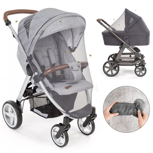 Universal insect screen / mosquito net for pram, buggy, travel cot - grey