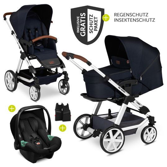 3in1 Kinderwagen-Set Turbo 4 - inkl. Babyschale Tulip & XXL Zubehörpaket - Shadow
