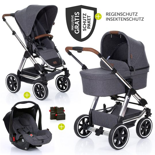 3in1 Pram Set Condor 4 Air - Diamond Special Edition - incl. baby bath, baby seat & accessories package - Asphalt