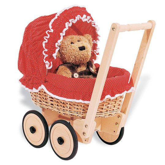 Basket doll carriage Mona incl. bedding - dot red nature