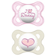 Dummy 2-pack Original - Silicone 0-6 M - I love Daddy - for girls