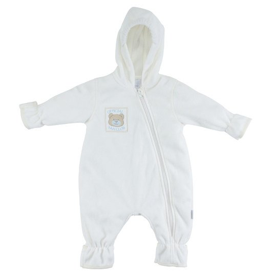 Fleece-Overall mit Kapuze Sweet Bear - Offwhite - Gr. 68