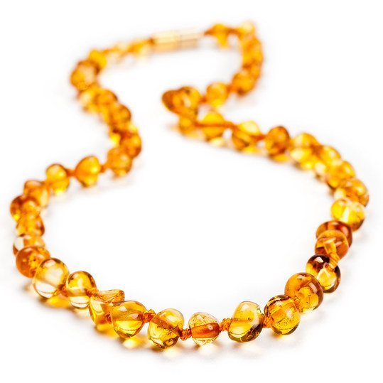 Amber necklace for babies - Baroque Cognac