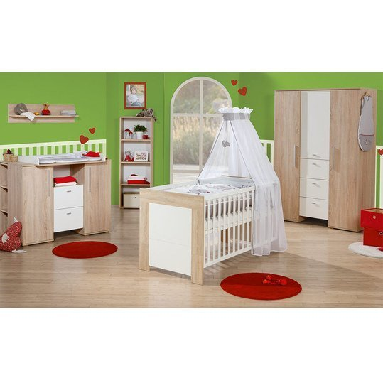 Children's room Daniel 6-pcs. incl. textile collection Jumbotwins, 3-door wardrobe, bed, changing table