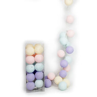 20er Cotton-Ball-Lichterkette - Pastel