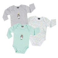 Body Langarm 3er Pack - Pinguin Mint Weiß Grau